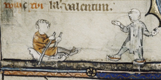 Circa 1325 – Sledge and skater on a miniature from a Ghent prayer book